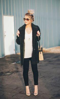 Cara Loren in a Top Shop jacket, Kate Spade heels and Ralph Lauren hoop earrings - all from Nordstrom Rack.