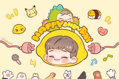 Happy Chen Day Muy Atrasado, sera para tu otro cumpleaños Baby Kim Jong Dae @MORIKO_9394 Via Twitter Kim Jong Dae, Exo Chanbaek, Xiuchen, Kawaii Chibi, Kpop Fanart, Handsome Boys, Happy Day, Chanyeol, Pikachu