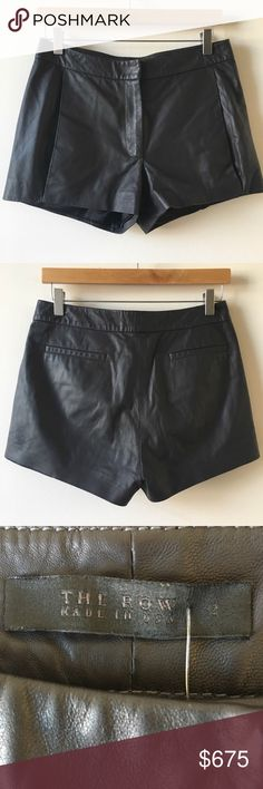 """The Row black lamb skin leather shorts The Row black lamb skin leather shorts. So soft and versatile. Sold out everywhere! #designer open to offers. Waist measures 15"""" marked size 2 but they don't fit as such! The Row Shorts"""