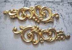 2 Vintage Stamped Brass 70mm Ornate Trims  Art by StarPower99, $2.90