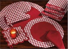 Country retro look red and white check kitchen decor, curtains, and ...