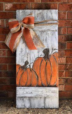 Fall Pumpkin Crafts, Fall Wood Crafts, Halloween Wood Crafts, Fete Halloween, Autumn Crafts, Fall Pumpkins, Holiday Crafts, Wood Pumpkins, Fall Wood Signs