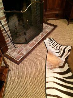 Sisal Area Rug - Custom Cut Around Fireplace