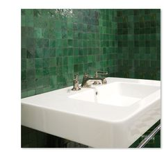 "Mosaic House R'ceef 2""x2"" handcut moroccan tiles in Green #10"