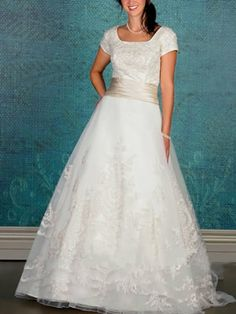 Erstaunlich A-Linie/Princess-Linie Quadrat Gericht Chiffon Modest Brautkleider 561,12 €   306,79 €