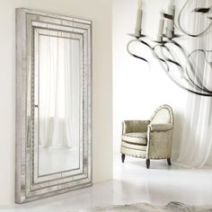 Melange Glamour Jewelry Armoire Storage Floor Mirror