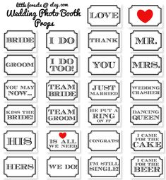 Wedding Photo Booth Props - Classic Signs - Printable, Digital, DIY, Photobooth. $5.00, via Etsy.