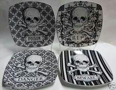 #Halloween #skull decor plates kitchen #screamsirens