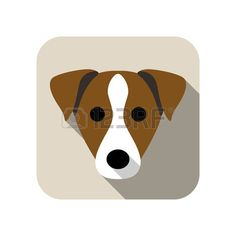 Parson Russell Terrier dog face character icon design Stock Vector