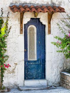 blue door with canopy, Greece