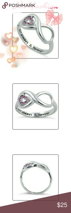 """JUST IN! ENGRAVED 925 INFINITY RING! Beautiful 925 sterling silver infinity ring. Embellished with an adorable heart with pink stones. Engraved with """"Always & forever"""" *TOP OF RING HEIGHT* 8.6 MM *BAND WIDTH* 2.2MM *SHANK WIDTH* 2.2MM *STONES* CZ *NUMBER OF STONES* 10 *STONE SETTING* PRONG *METAL* 925 STERLING SILVER *PLATING* RHODIUM FOR.. High reflective rating, anti scratch, quality, non corrosive WILL NOT TARNISH! *HIGH POLISH FINISH* Jewelry Rings"""