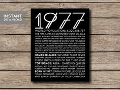 1977 - printable 40. Geburtstag oder Jahrestag-Fakten & Trivia Print Poster - DIGITALE DATEI
