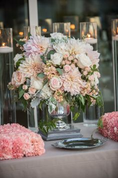 #peach and #grey wedding centerpiece