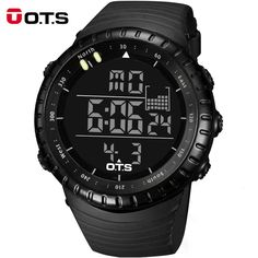 Top Brand OTS Cool Black Mens Fashion Large Face LED Digital Swimming Climbing Outdoor Man Sports Watches Christmas Boys Gift,Who like it ?Get it here