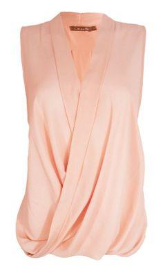 Sleeveless Blouse Chiffon V Neck Wrap Front T Shirt Work Top: Amazon.co.uk: Clothing