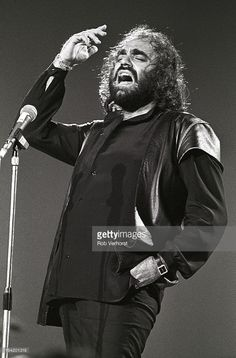 Greek singer Demis Roussos performs live on stage at the Platen 10-daagse at Ahoy in Rotterdam, Netherlands on 9th October 1984.