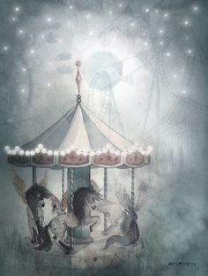 Mrs Mighetto The Forgotten Tivoli Print Mr William & The Night Carousel - Leo & Bella Dibujos Cute, Little Girl Rooms, Baby Room Decor, Illustrations And Posters, Mandala Art, Carousel, Wall Art Decor, Art Boards, Art For Kids