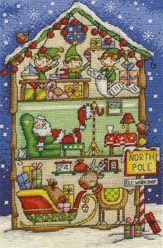 Buy+Elf's+Workshop+Cross+Stitch+Kit+Online+at+www.sewandso.co.uk