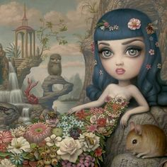 Detail of Mark Ryden's new work 'Katy Aphrodite' for his upcoming Gay Nineties - West show at Kohn Gallery (opens 3 May) - see full image on our Tumblr feed http://beautifulbizzzzarreart.tumblr.com/