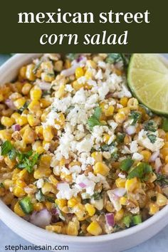 This Mexican Street Corn Salad recipe is an easy way to get all the same flavors of Street Corn in a one bowl recipe. Super quick to make on the stove top and great served alone or with chips. #mexicanstreetcorn #glutenfree #vegetarian #salads Mexican Street Corn Salad, Mexican Street Food, Vegetarian Salad Recipes, Mexican Food Recipes, Vegetarian Mexican, Mexican Cooking, Vegetarian Lunch, Corn Dip Recipes, Cooking Avocado