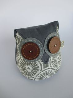 Fabric Doorstop Beige and Grey Neutral Owl Doorstop Heavy Owl Doorstop, Whale Pattern, Door Stopper, Owl Patterns, Beige, Cotton Fabric, Coin Purse, Sewing, Unique Jewelry