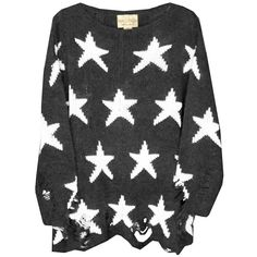 Wildfox Couture Seeing Stars Lennon Sweater in Dirty Black ❤ liked on Polyvore