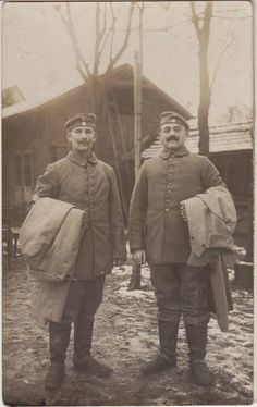 WWI GERMAN SOLDIERS Uniforms Overcoats Real Photo PC Bayreuth c1916.
