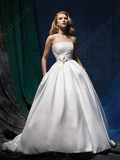 Ball Gown Strapless Satin Court Train Lace Wedding Dresses -£175.29