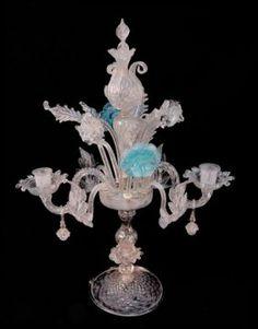 Antique Venitian Glass Candelabrum Centerpiece Venetian Glass, Chandeliers, Sconces, Centerpieces, Bohemian, Ceiling Lights, Antiques, Board, Beauty