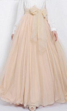 Formal Flared Nude Tulle Skirt - Apostolic Clothing #modest #skirts