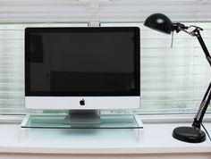 i-Bridge Mini MC-500 Tempered Glass Laptop Monitor Stand White Slim Universal Monitor Laptop Multimedia Stand with Desk Organizer