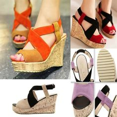 52a467aea1 Women's Wedges Sandals Summer Girl Ladies High Heel Shoes Color Block Large  Size #fashion #