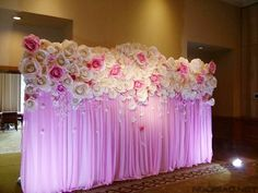 Create a stunning backdrop with paper flowers. I would definitely do a different color though. Paper Flower Wall, Paper Flower Backdrop, Paper Flowers Diy, Paper Roses, Decoration Evenementielle, Flower Decorations, Wedding Decorations, Party Kulissen, Festa Party