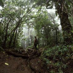 Morning hike in the fog up a dormant volcano. Cerro Chato, La Fortuna, Costa Rica. Flights+Barrels Travel Photography.