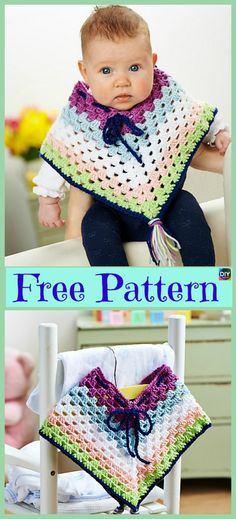 New crochet poncho baby free pattern projects Ideas Crochet Baby Poncho, Crochet Poncho Patterns, Cute Crochet, Irish Crochet, Girls Poncho, Baby Girl Patterns, Crochet Doll Clothes, Crochet Dresses, Baby Sweaters