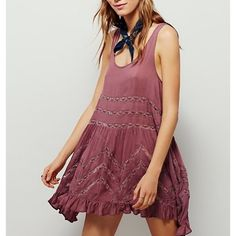 """Free People Fawn Voile Trapeze Free People Voile and Lace Trapeze slip in """"fawn combo."""" New without tags. Took them off but never worn. Free People Dresses Mini"""