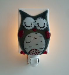 Handmade fused glass nightlight by Karine Foisy.   karine.enverre@gmail.com