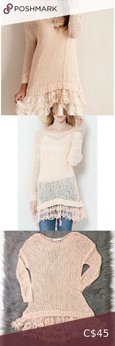 Entro Lace Hem Knitted Pullover Excellent condition. Anthropologie Sweaters