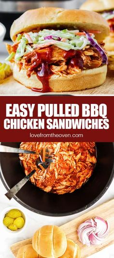 Easy Crockpot BBQ Chicken Sandwiches • Love From The Oven Best Chicken Recipes, Crockpot Recipes, Snack Recipes, Dinner Recipes, Crockpot Bbq Chicken, Oven Recipes, Burger Recipes, Snacks, Bbq Chicken Sandwich