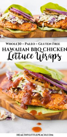 Hawaiian BBQ Chicken Lettuce Wraps #lunch #dinner #whole30 #paleo #glutenfree