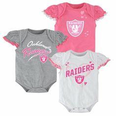 Oakland Raiders Newborn Girls 3-Piece Ruffle Creeper Set - White Pink Ash.  Newborn GirlsInfant GirlsOnesiesKids OutfitsBaby OutfitsToddler ... 1d1a27311