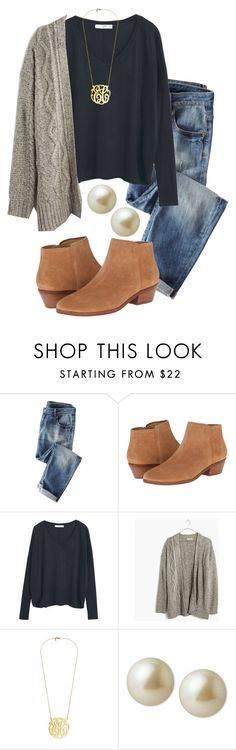 """""""Bad ootd look a like // in a rush"""" by madelyn-abigail ❤ liked on Polyvore featuring Wrap, Jack Rogers, MANGO, Madewell and Carolee"""