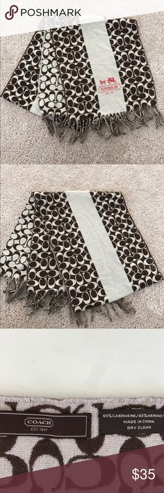 Coach Monogram Cashmere/Wool Scarf Coach cashmere and wool scarf -great condition! Beautiful! 58 inches long - 8 inches wide Coach Accessories Scarves & Wraps