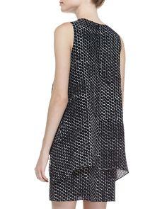 Layered Dot-Print Tank Dress