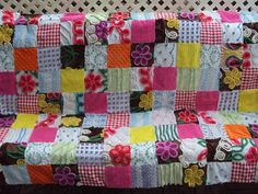 Cute vintage chenille patchwork quilt bright by CulpsCozyQuiltCoop