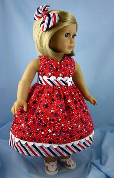 18 Inch Doll Clothes Red White and Blue by SewMyGoodnessShop
