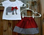 Roll Tide Elephant Applique OUTFIT..... Houndstooth Elephant Onesie or Tee and Skirt