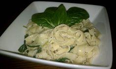 Homemade gluten free pasta w/spinach & lemon butter sauce