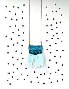Hand Woven Tapestry / Peacock and Ostrich Feathers / Pendant Statement Necklace on Etsy, $56.00