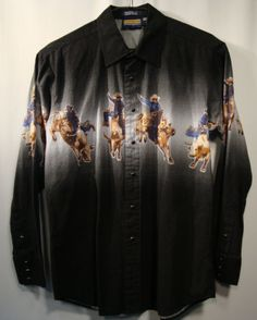 Panhandle-Slim-Mens-Western-Shirt-Snap-Cotton-L-Large-Long-Sleeve-Rodeo-Black